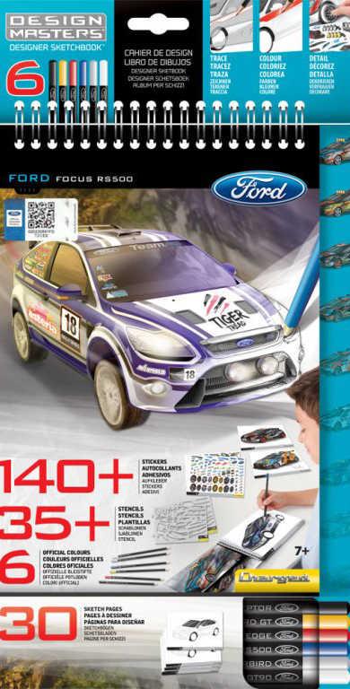 DESIGN MASTERS Portfolio kreativní Ford Focus set se samolepkami a pastelkami