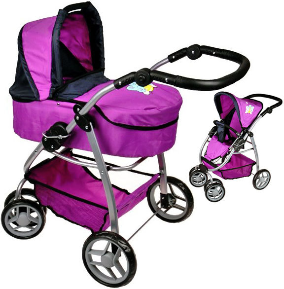 Kočárek Boncare M4 pro panenku miminko hluboký fialový s motýlkem 4v1