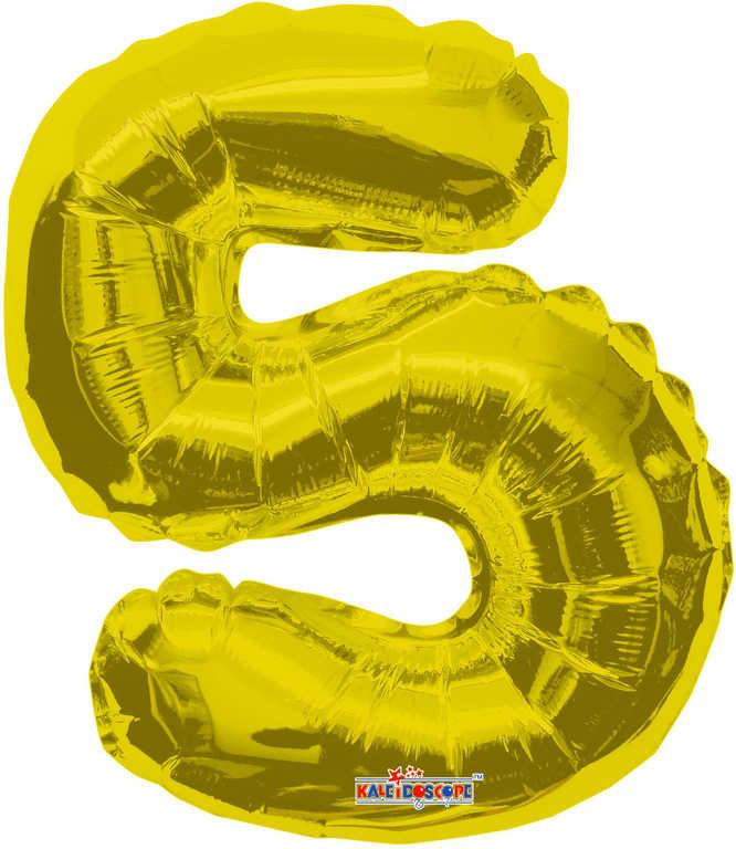 Party balonek nafukovací 35cm Číslice 5 zlatý malý foliový plnění vzduchem