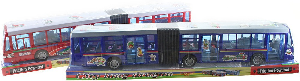 Autobus velký kloubový 63cm harmonika na setrvačník funkční dveře 2 barvy