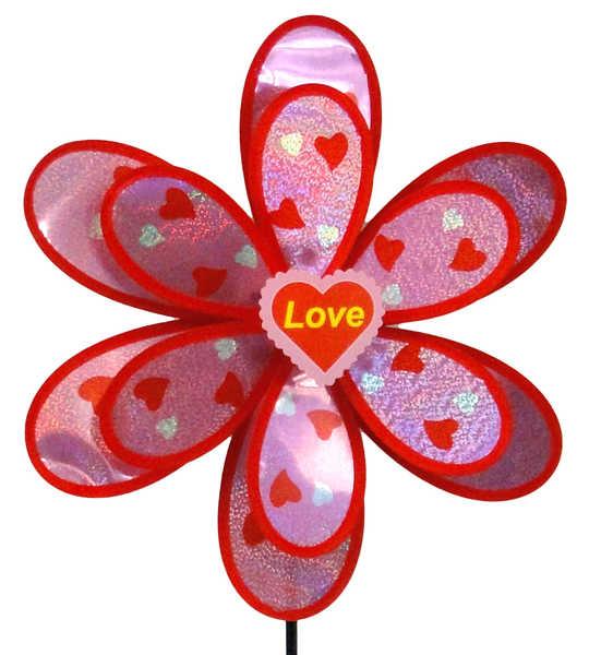 Větrník růžový třpytivý KVÍTEK srdíčka Love 38cm 2 barvy
