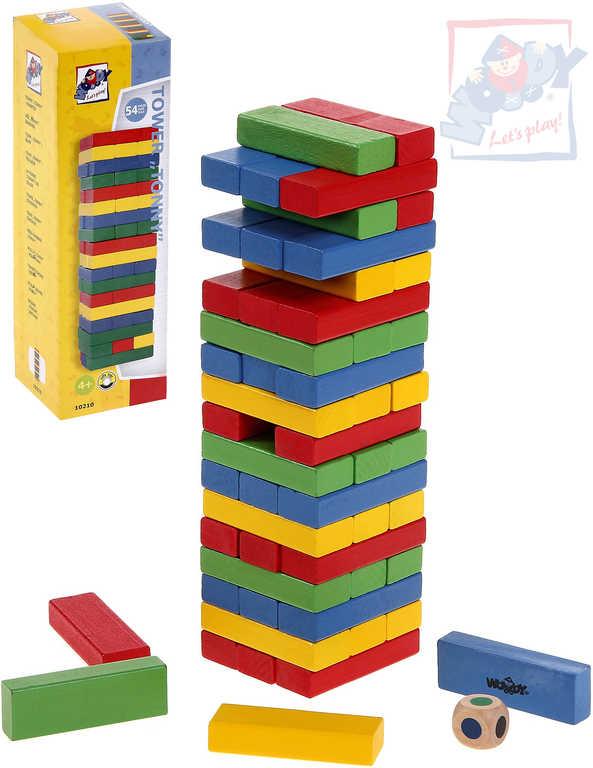 WOODY DŘEVO Hra barevná věž Tower Tony s kostkou *DŘEVĚNÉ HRAČKY*