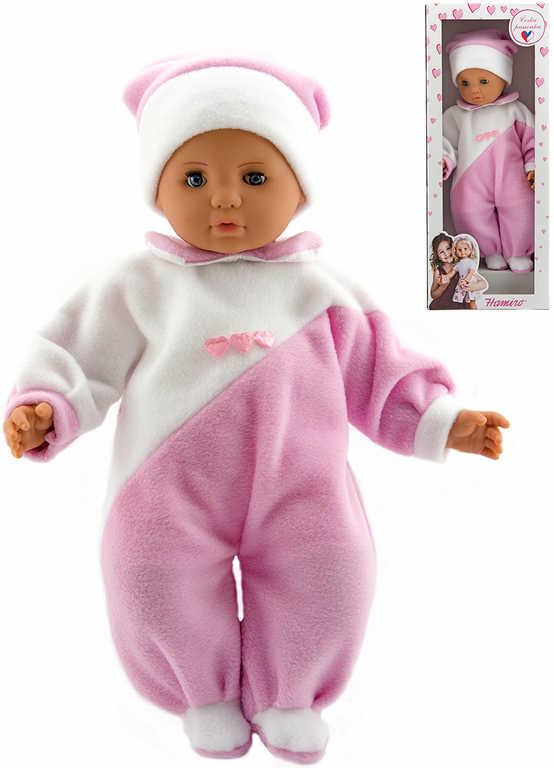 Hamiro panenka miminko 40cm textilní růžovo-bílý obleček v krabici plast