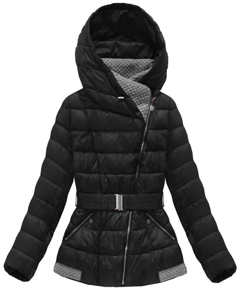 Černá dámská prošívaná bunda(B3563)