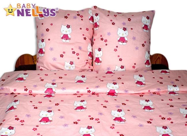 Bavlněné povlečení 140x200 - Kočička v růžové - 140x200/70x80cm