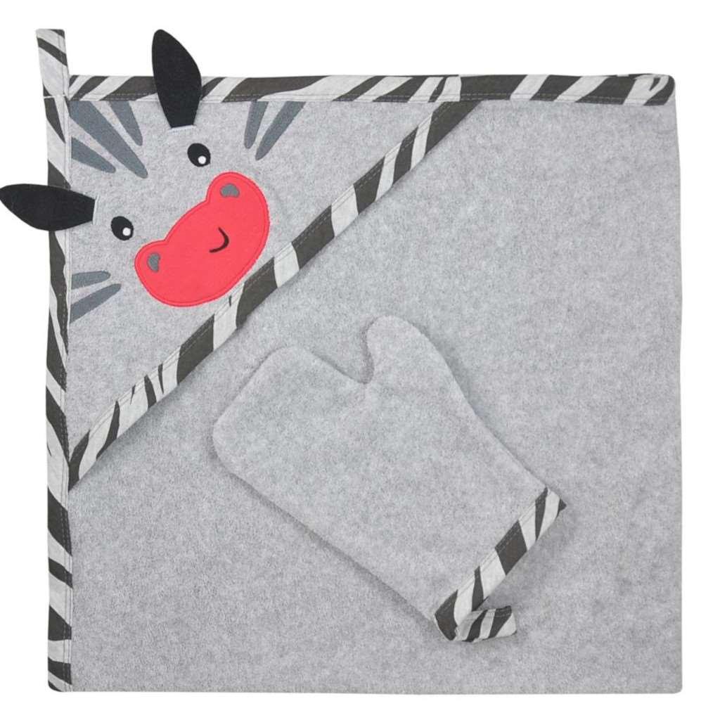 Dětská osuška s žínkou Koala Happy Zebra - grey - šedá