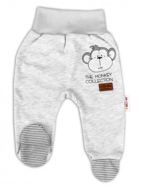 Baby Nellys Kojenecké polodupačky Monkey - sv. šedý