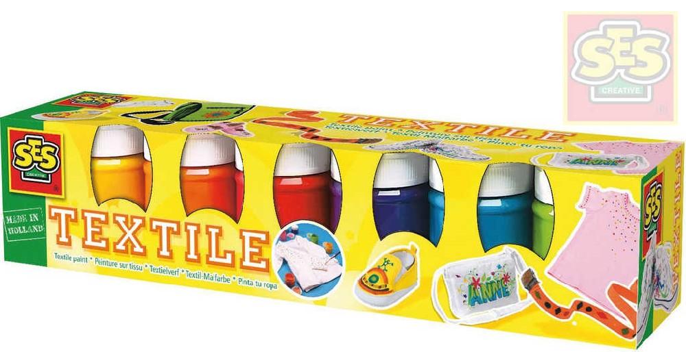 SES CREATIVE Barvy na textil a hedvábí set 6ks v krabičce