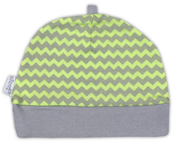 Čepička NICOL JEŠTĚRKA - zigzag hráškově zelená