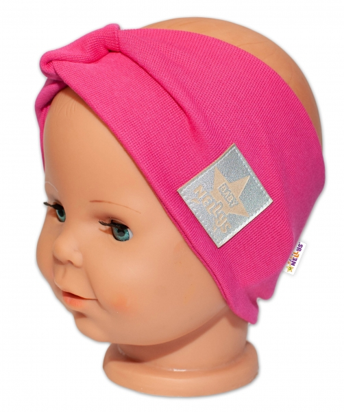 Baby Nellys Hand Made Jarní, bavlněná čelenka - dvouvrstvá, tm.