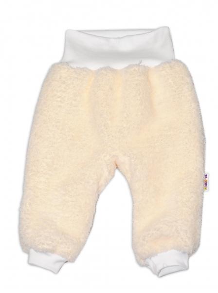 Chlupáčkové kalhoty, tepláčky Baby Nellys ® - smetanové - vel. 74 - 74 (6-9m)