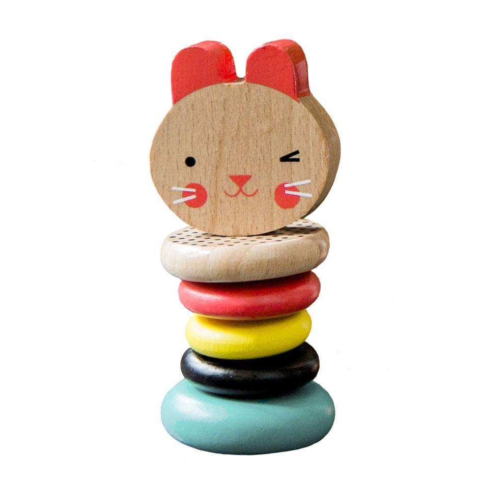 Petit Collage Dřevěné chrastítko zajíček