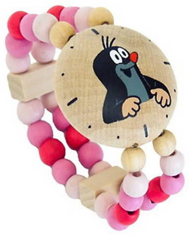 DETOA DŘEVO Hodinky holčičí Krtek (Krteček) růžové náramkové s korálky