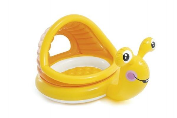 Bazén dětský šnek se stříškou nafukovací dno 145x102x74 cm 1-3 let