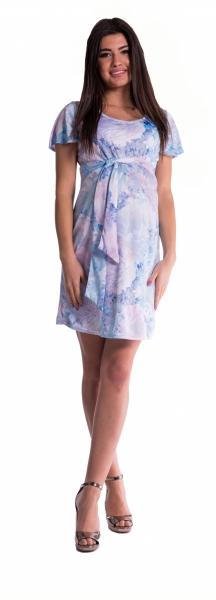 Be MaaMaa Těhotenské šaty s květinovým potiskem s mašlí - blankyt - L (40)