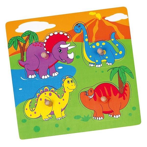 Dřevěné puzzle s úchyty pro nejmenší Viga Dino - multicolor