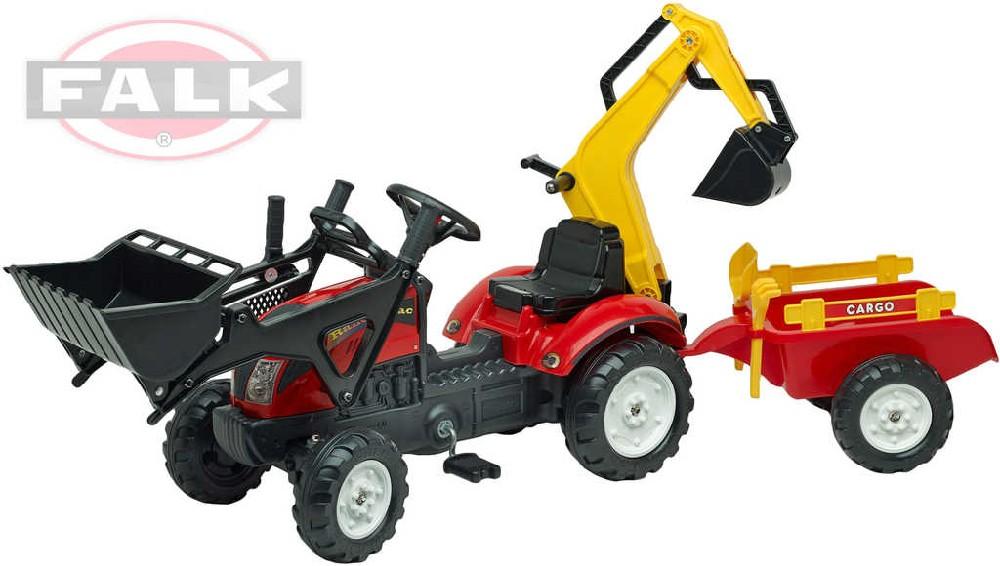 FALK Traktor šlapací Ranch Trac 2051CN s přední a zadní lžící s vlekem a doplňky