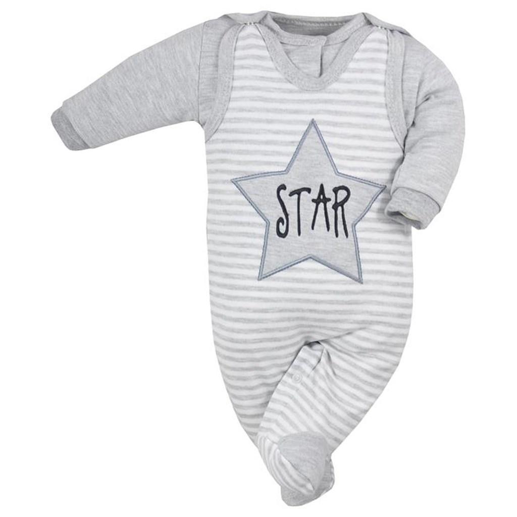 2-dílná kojenecká souprava Koala Star s pruhy - šedá/74 (6-9m)