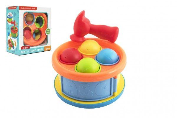 Zatloukačka/Bubínek 17cm 2v1 plast s kladívkem a míčky 4ks