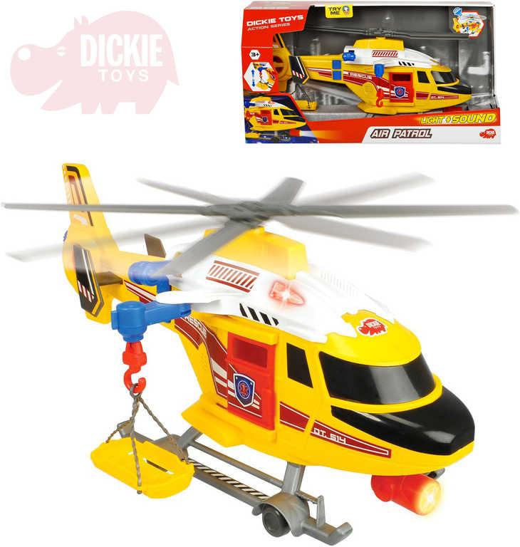 DICKIE Vrtulník záchranářský 41cm funkční na baterie s lehátkem Světlo Zvuk