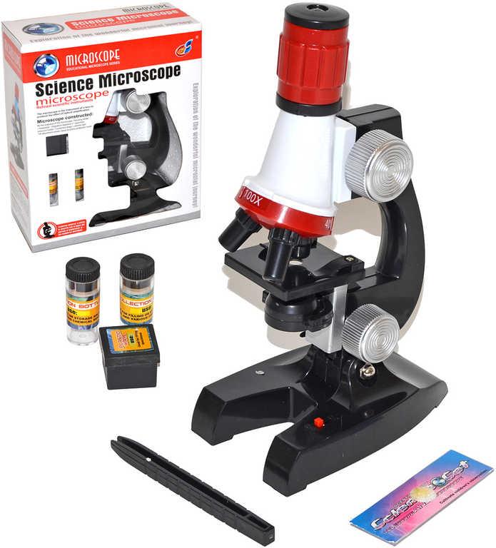 Mikroskop dětský vědecký na baterie set s doplňky v krabici Světlo