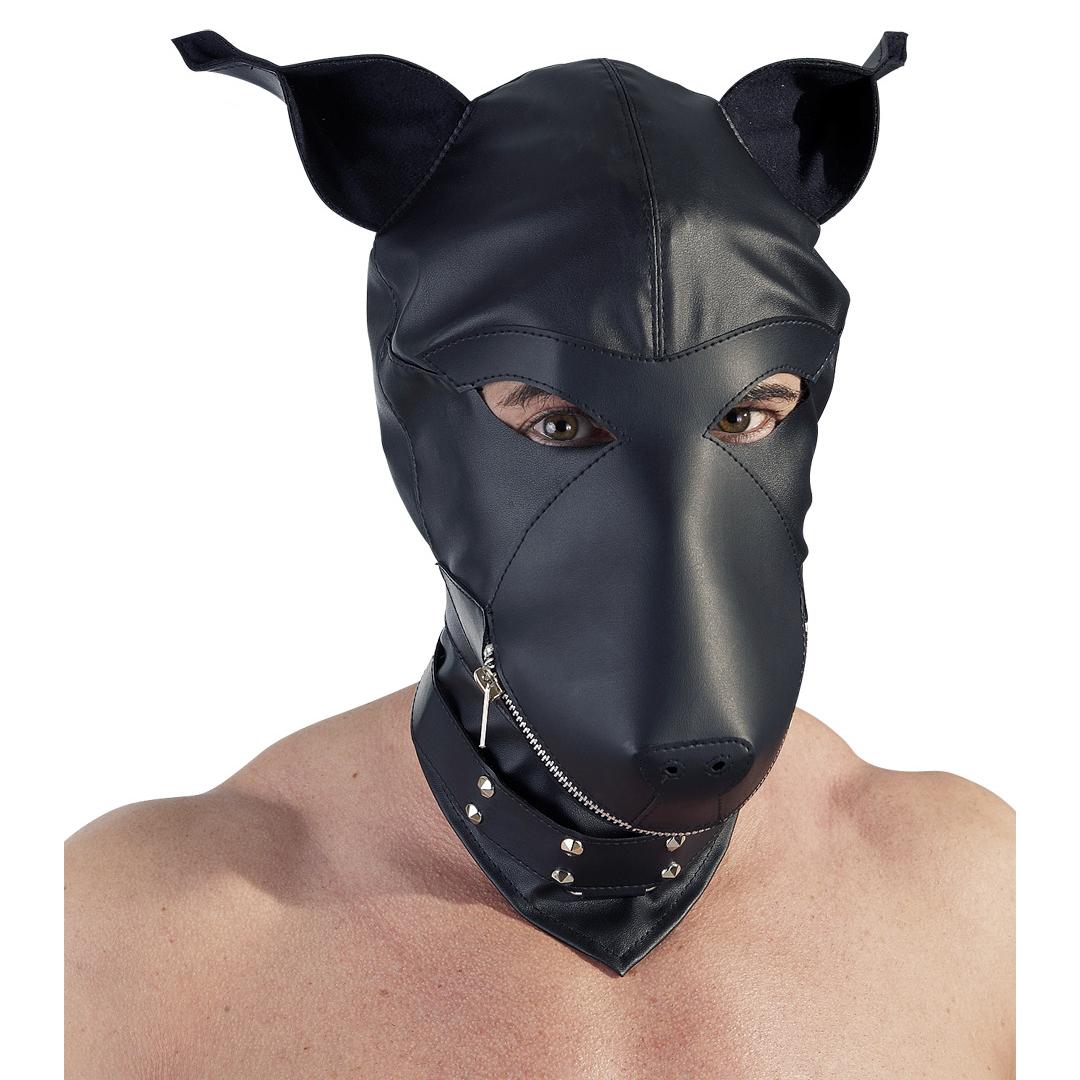Psí maska s obojkem - imitace kůže