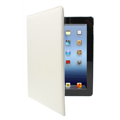 Kožený kryt / pouzdro Rotation Litchi pro iPad 2 / 3 / 4 bílý