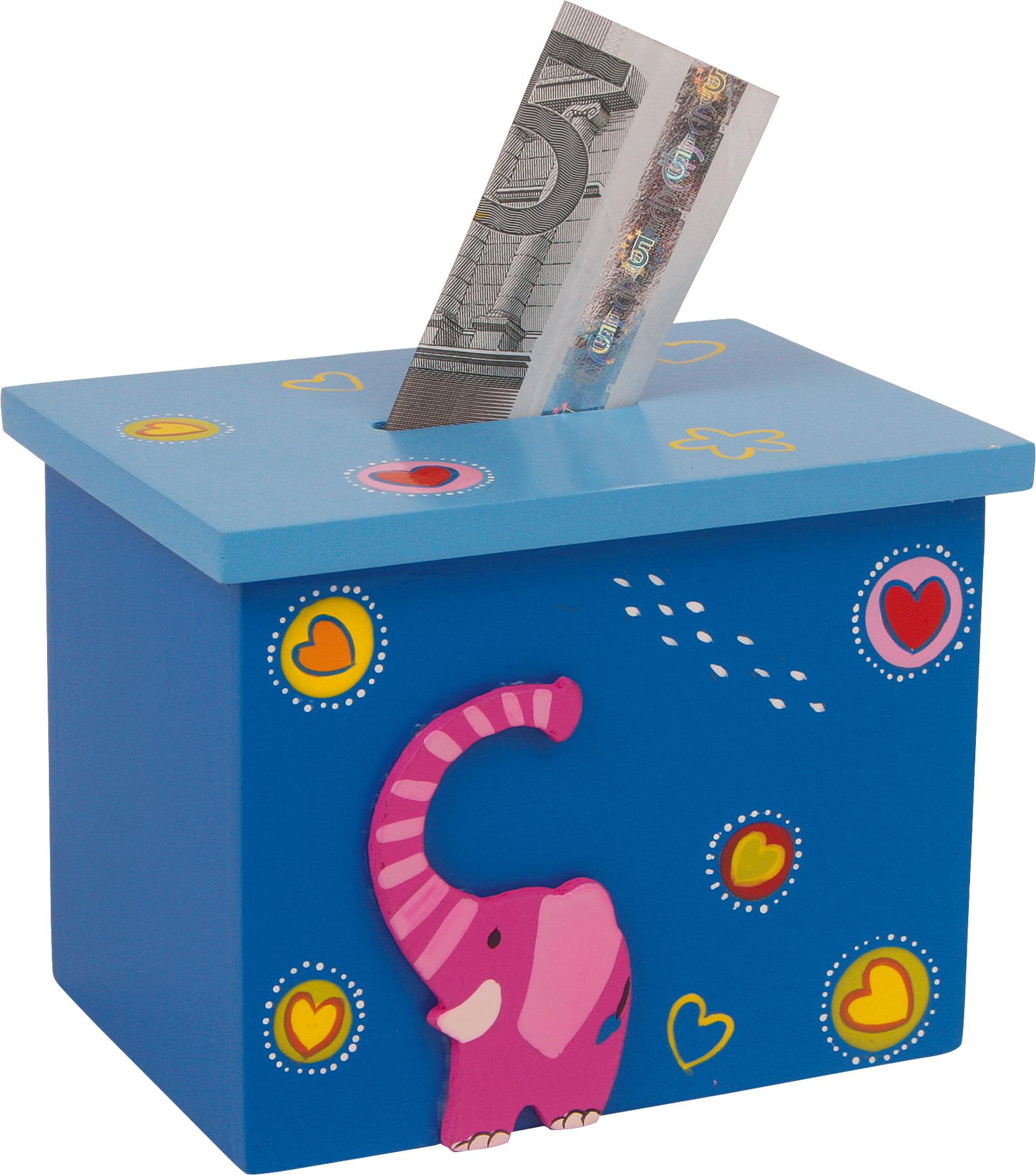 Dřevěná pokladnička zvířátka 1ks modrá