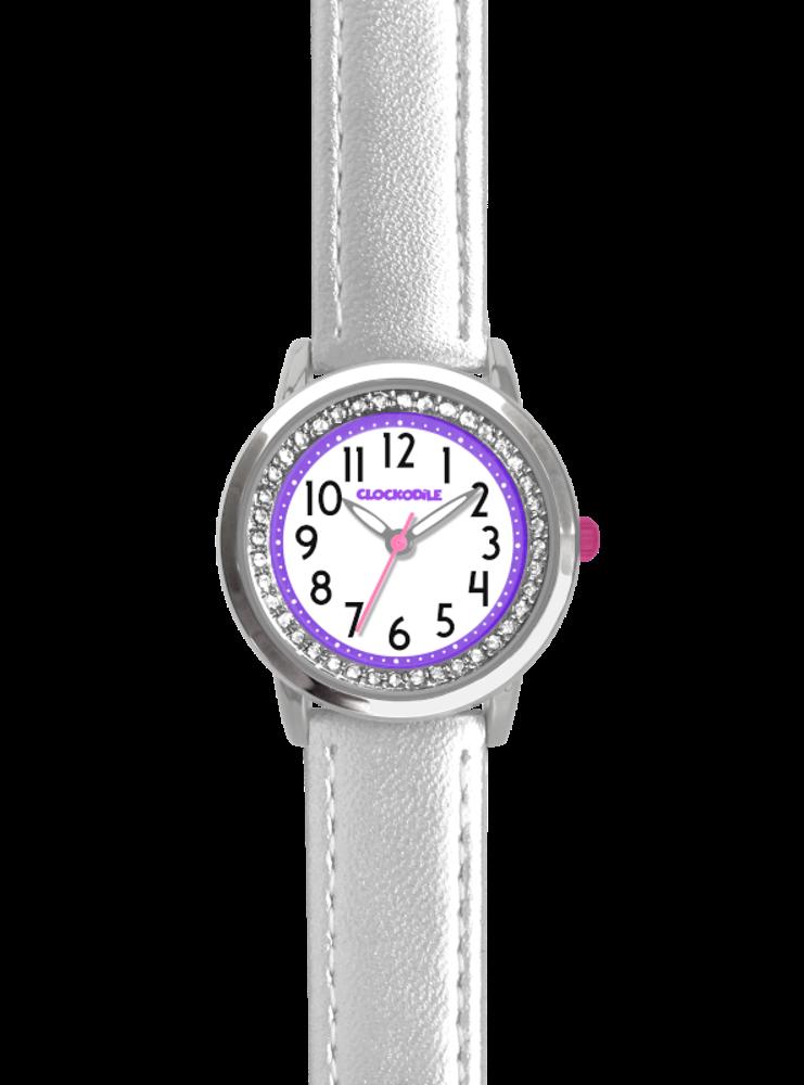 Stříbrné třpytivé dívčí hodinky se kamínky CLOCKODILE SPARKLE