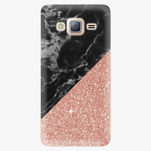 Plastový kryt iSaprio - Rose and Black Marble - Samsung Galaxy J3