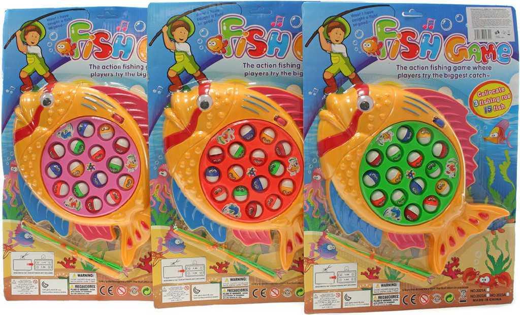 Hra Chytání rybiček dětský rybolov velký na baterie set se 2 pruty - 3 barvy