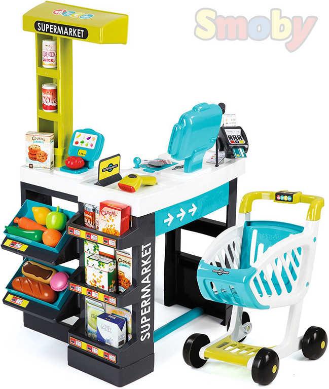 SMOBY Supermarket modro-zelený dětský obchod velký herní set na baterie Světlo Zvuk