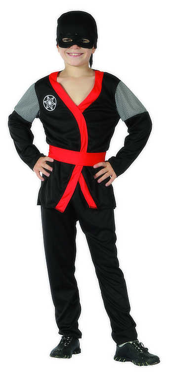 KARNEVAL Šaty Ninja černé vel. M (120-130cm) 5-9 let KOSTÝM
