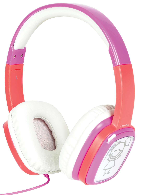 AV:link Doodle Pink, dětská sluchátka s obrázky, růžové
