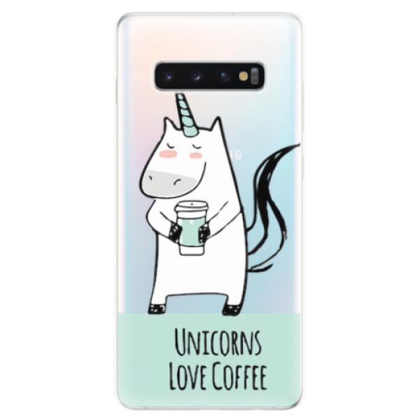 Odolné silikonové pouzdro iSaprio - Unicorns Love Coffee - Samsung Galaxy S10+