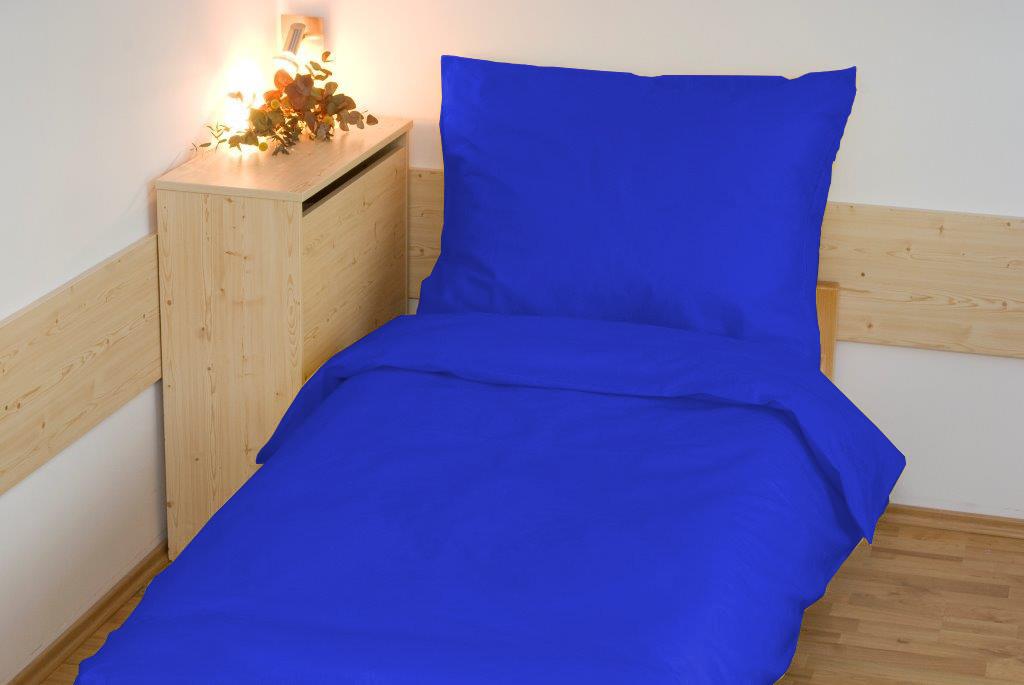 Prodloužené povlečení bavlna UNI 140x220, 70x90cm Tmavě modré, Výběr zapínání: zipový uzávěr