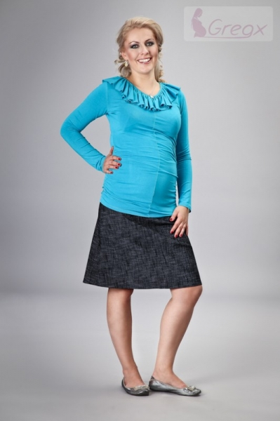 Elegantní těhotenská sukně DENIM - černá