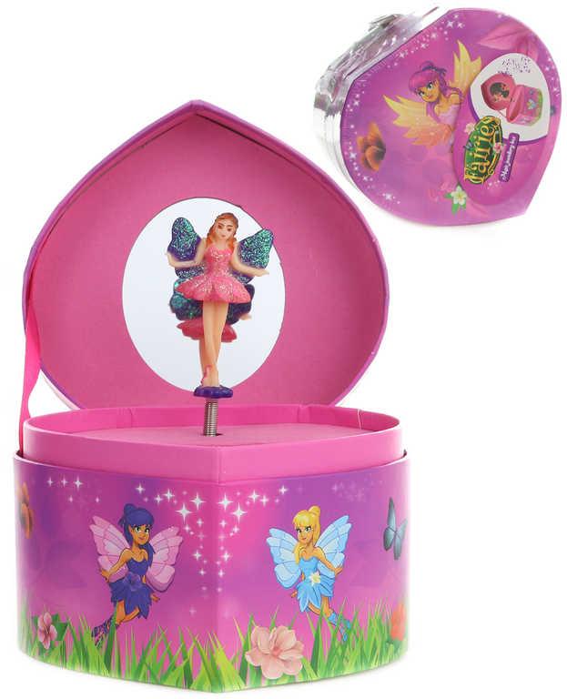 Skříňka hrací srdíčko 12cm dětská šperkovnice Disney Víly s melodií karton