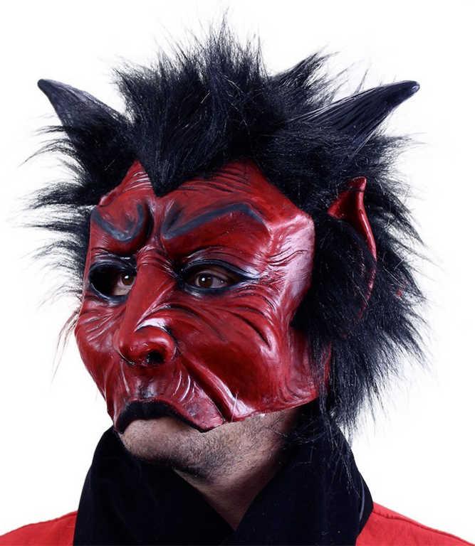 KARNEVAL Maska čert s vlasy latex KARNEVALOVÝ DOPLNĚK