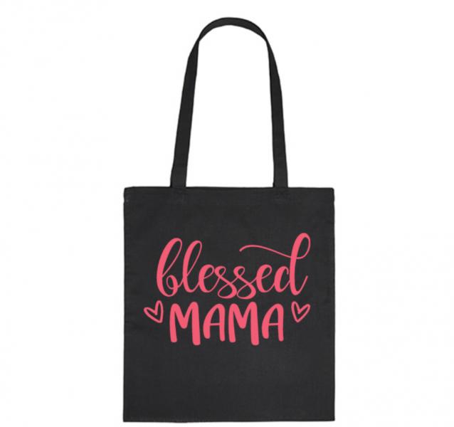 Bavlněná taška pro mámy Blessed Mama - černá