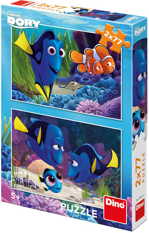 DINO Puzzle 2x77 dílků Hledá se Dory se našla skládačka 26x18cm