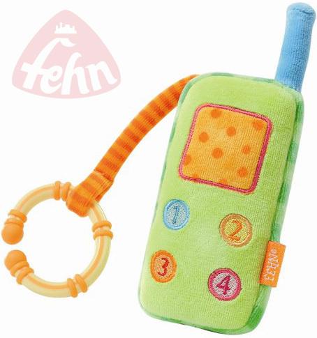 FEHN Můj první telefon Robos baby plyšový s klipem Zvuk pro miminko