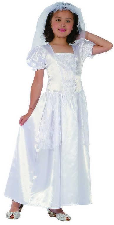 KARNEVAL Šaty bílé nevěsta vel.M (102-130 cm) 5-9 let KOSTÝM