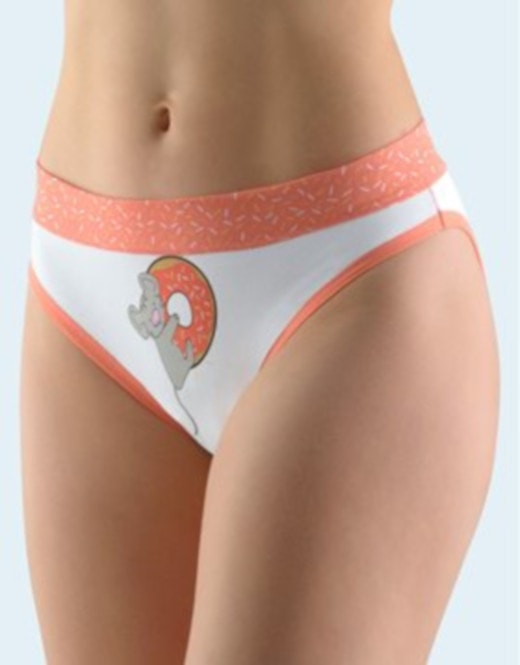 GINA dámské kalhotky bokové se širokým bokem, šité, s potiskem Funny 3 collection 16117P - jaspis bílá