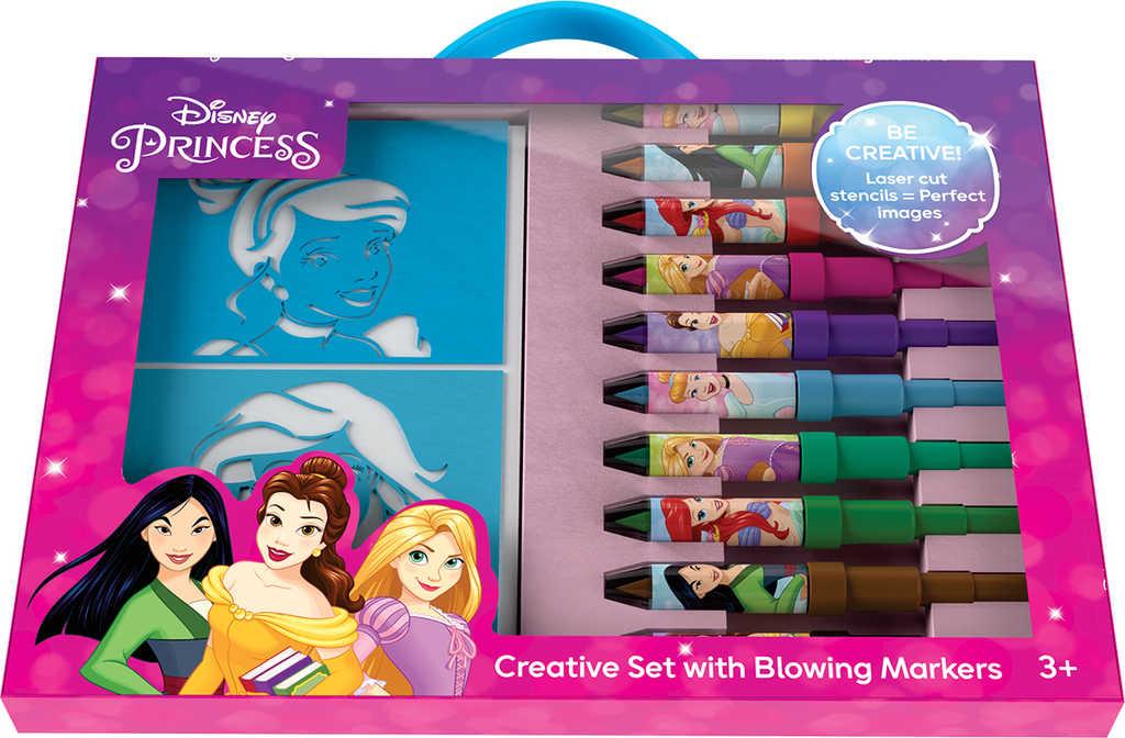 JIRI MODELS Foukací fixy set 10ks s blokem a šablonami Disney Princezny