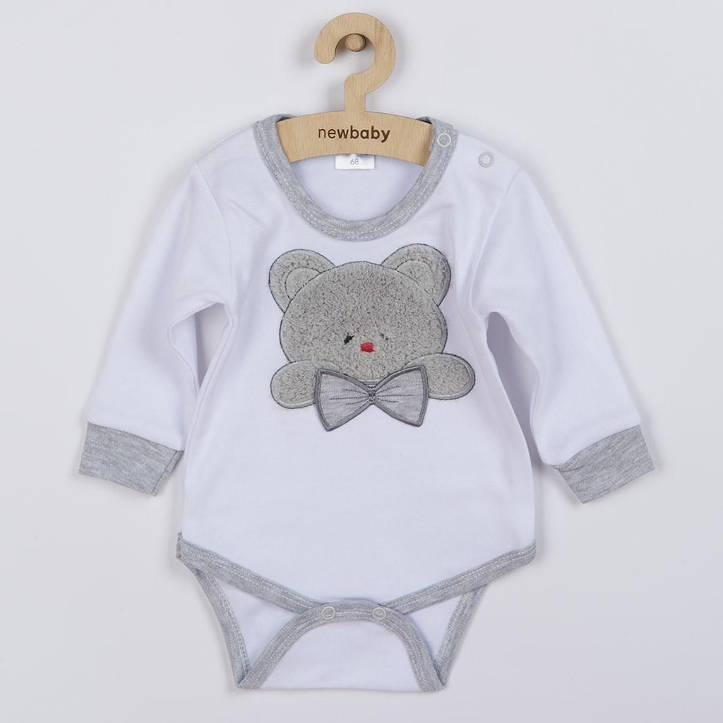 Luxusní kojenecké body s dlouhým rukávem New Baby Honey Bear s 3D aplikací