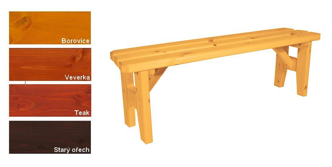 Zahradní dřevěná lavice bez opěradla I. - s povrchovou úpravou - 150 cm