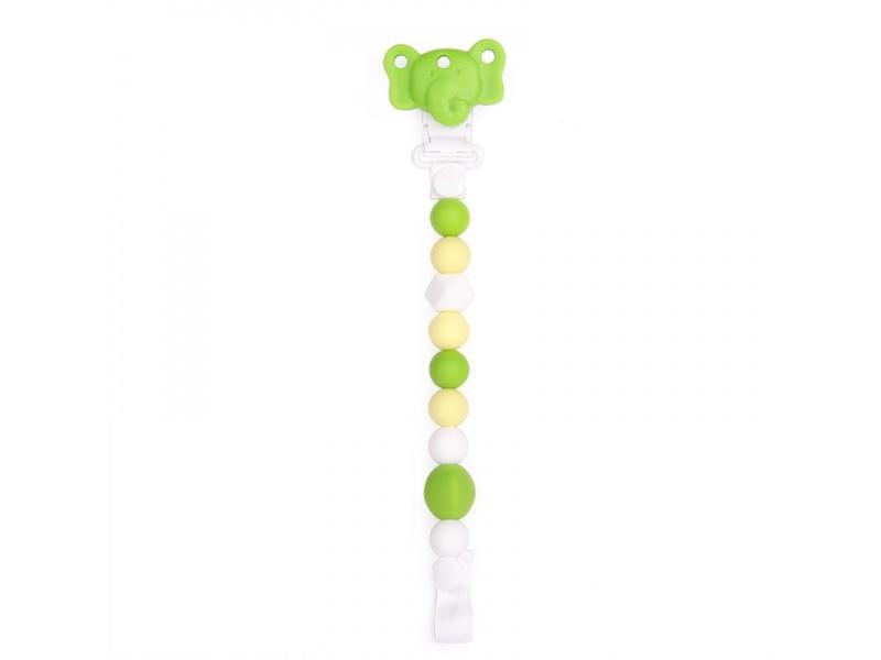 Silikonový klip na dudlík slůně - zelený