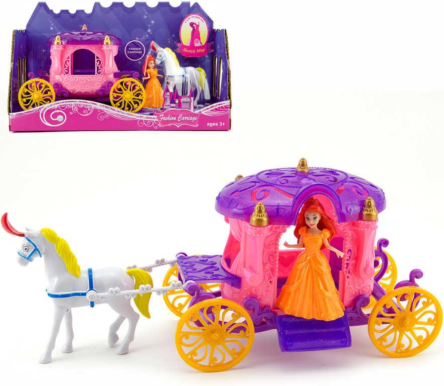 Set kůň s kočárem 40cm + panenka princezna plast v krabici
