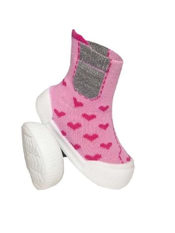 Ponožtičky s gumovou šlapkou - Srdíčka růžové, vel. 22 - vel. nožky 22